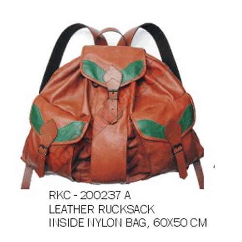 Leather cotton rucksack bag